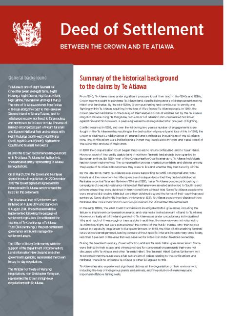 Te Atiawa Deed of Settlement – Summary